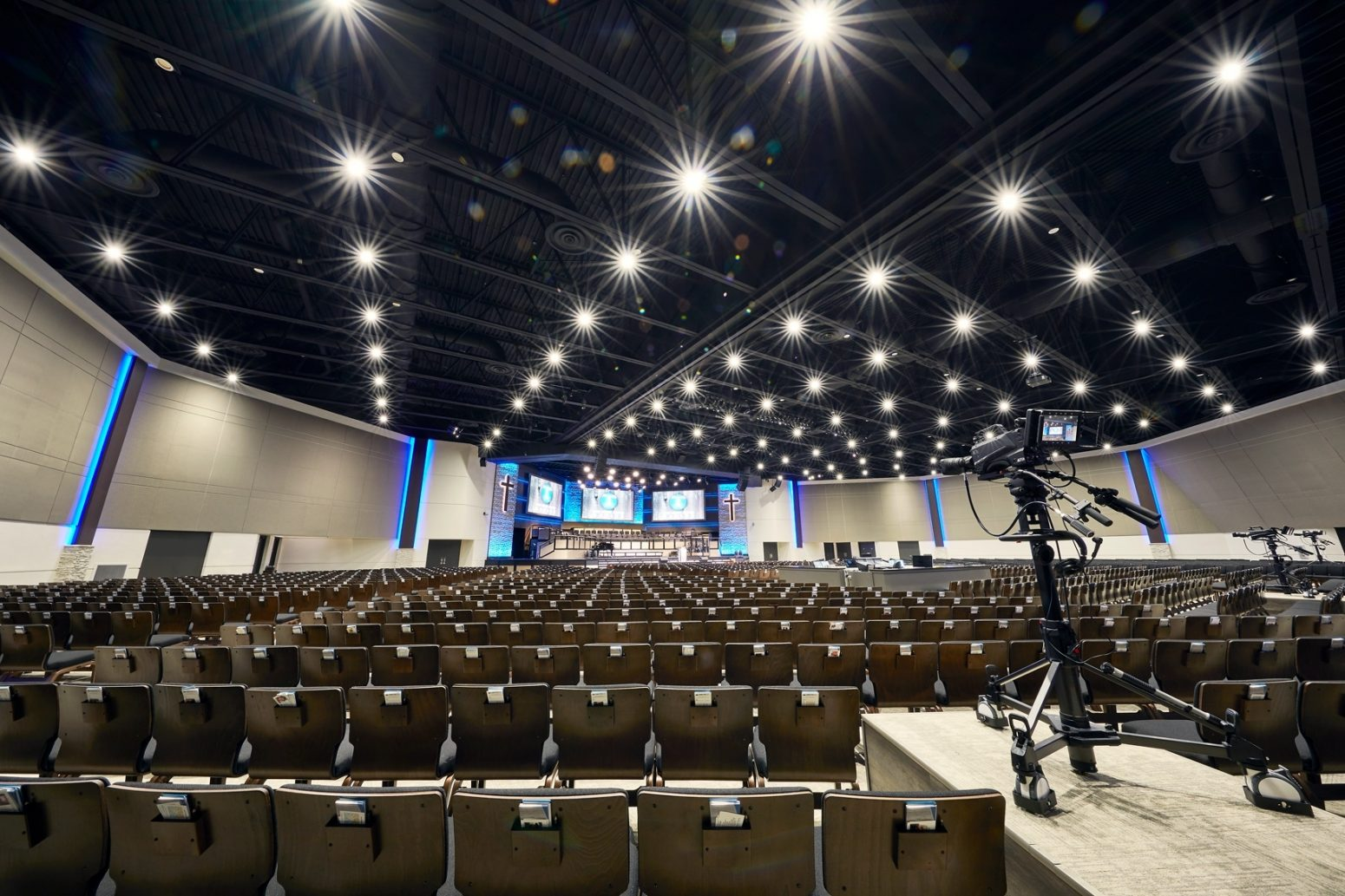 This shows the auditorium lighting systems we designed for First Baptist Church Naples.