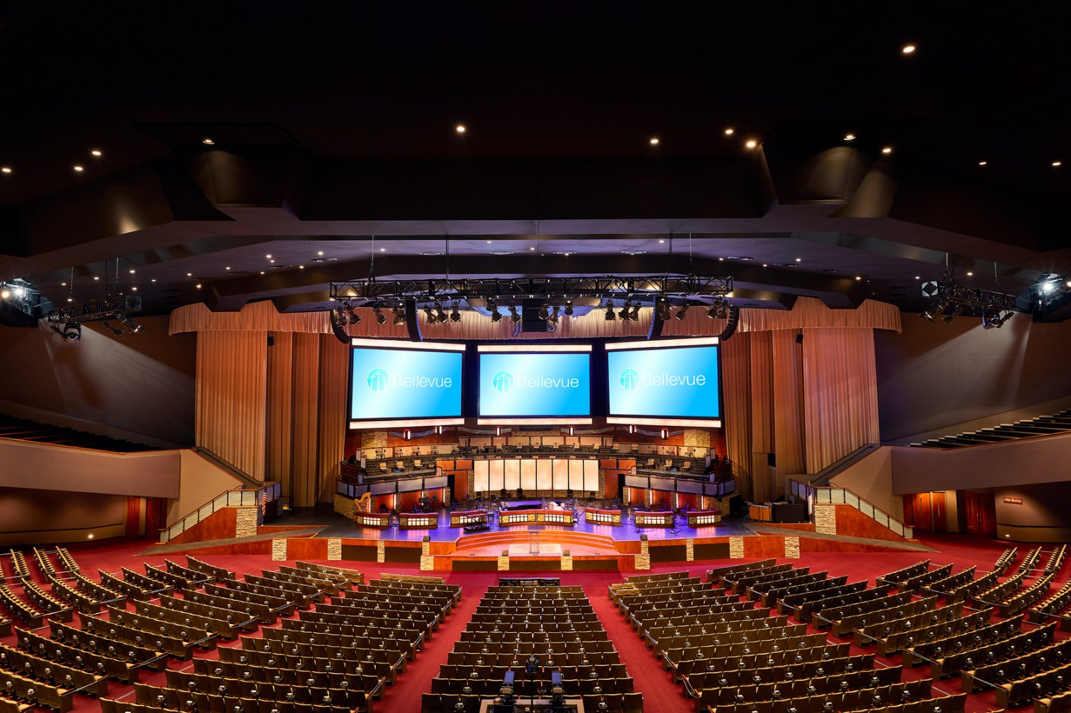 Full audio design and installation at Bellevue Baptist Church.