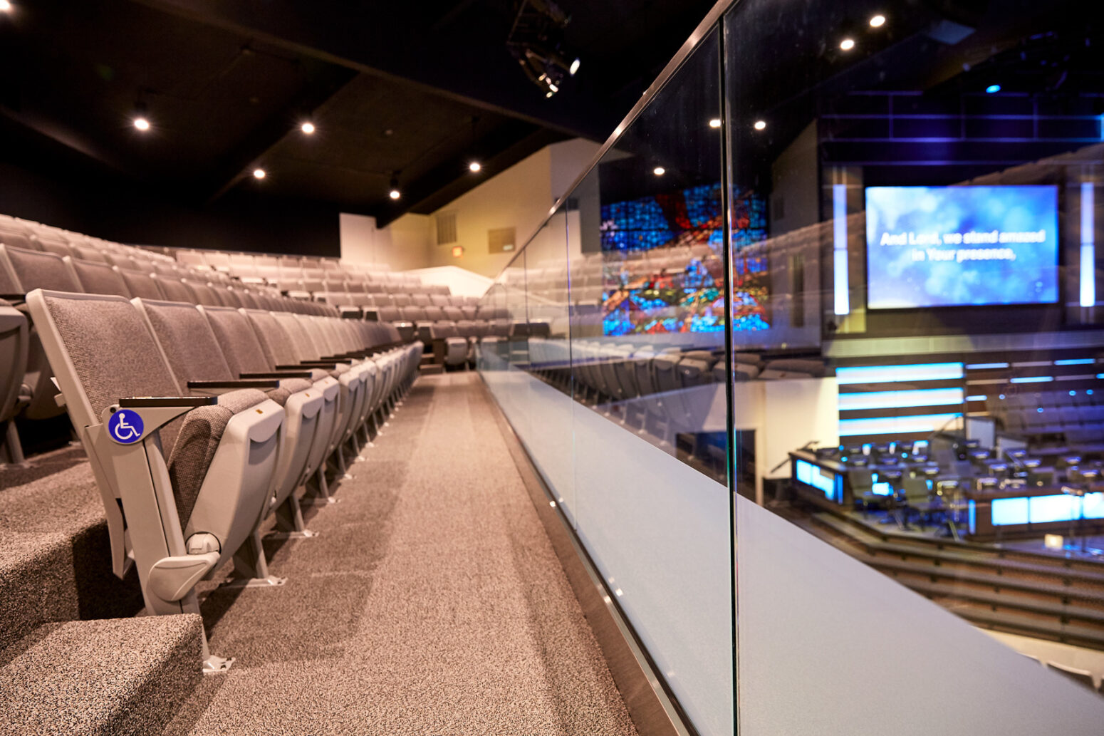Church interior design and auditorium design expertise merge beautifully in this project.