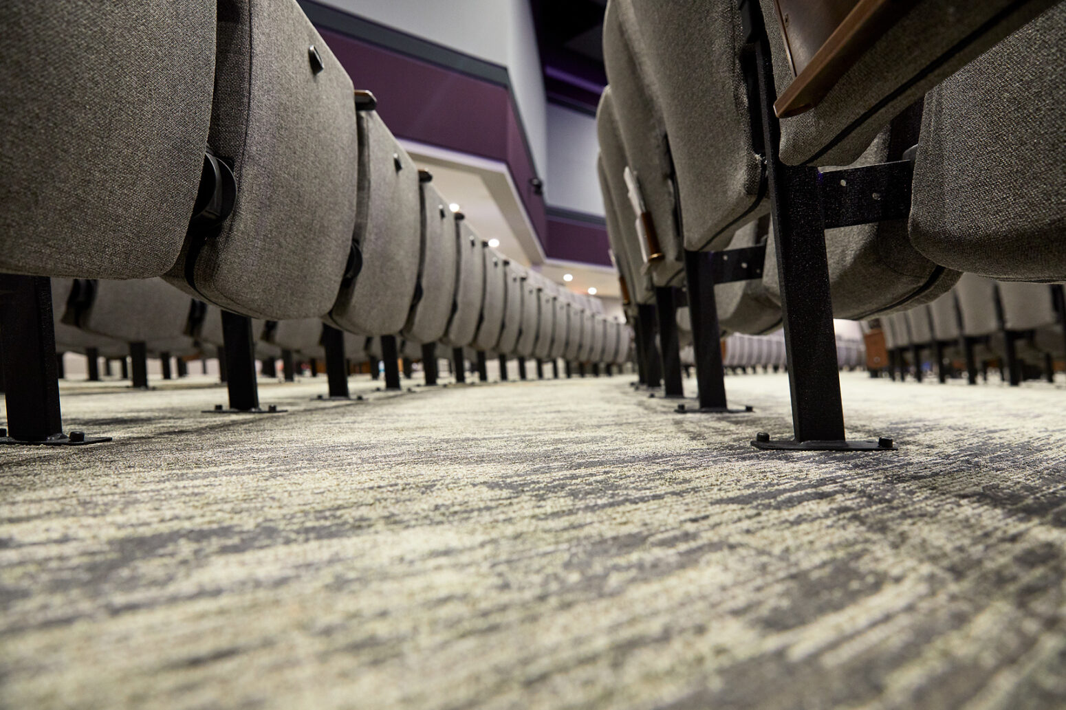 Flooring for an auditorium design project completed by Paragon 360.