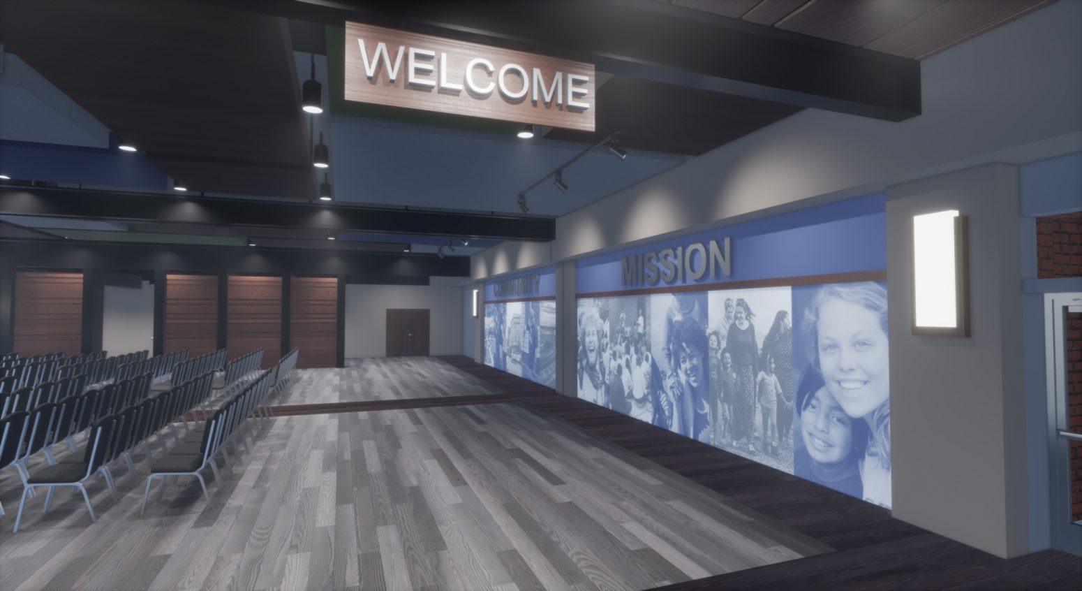 Welcome center for an auditorium designed by Paragon 360.