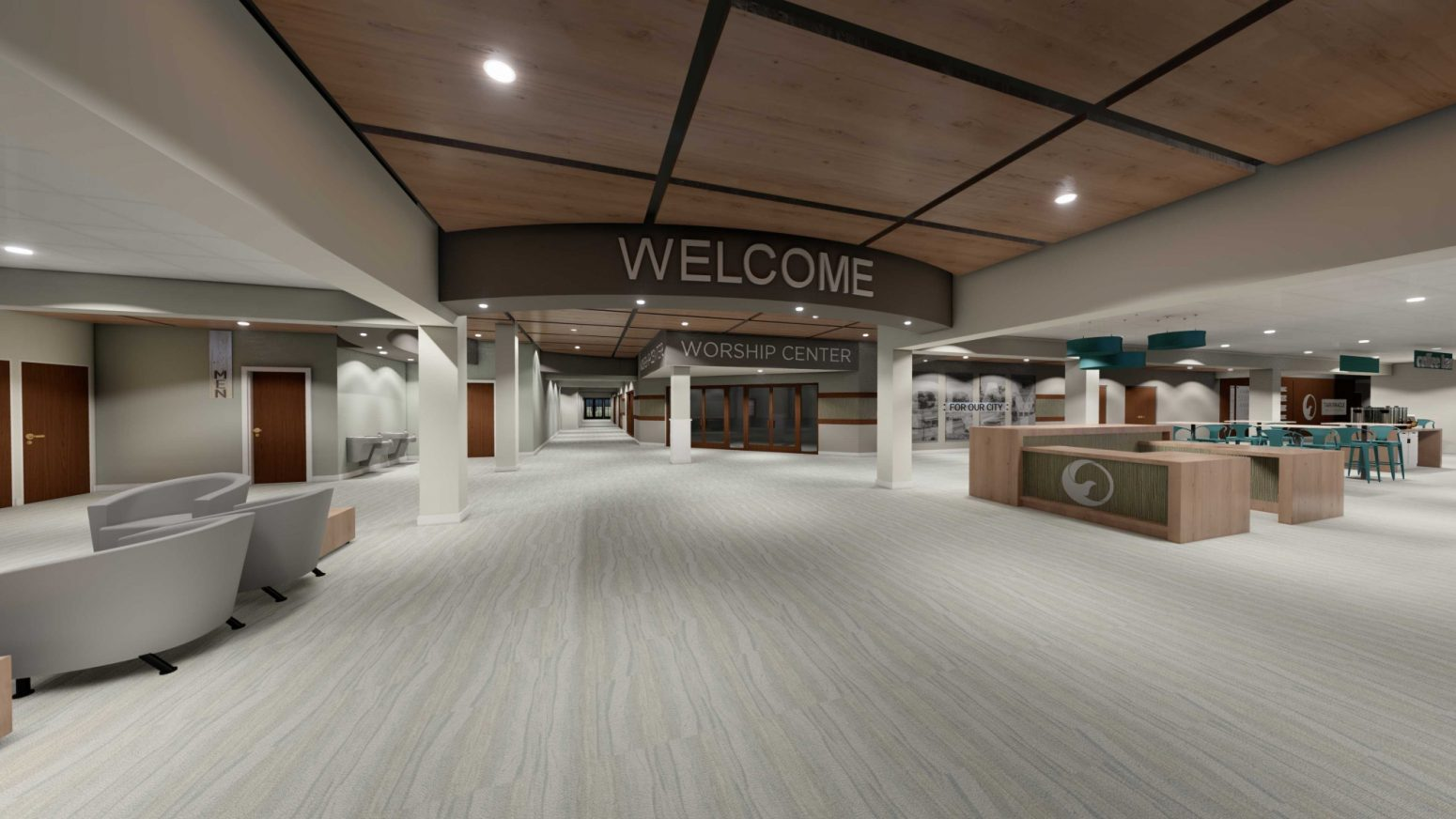 Auditorium design project featuring a spacious Welcome center.