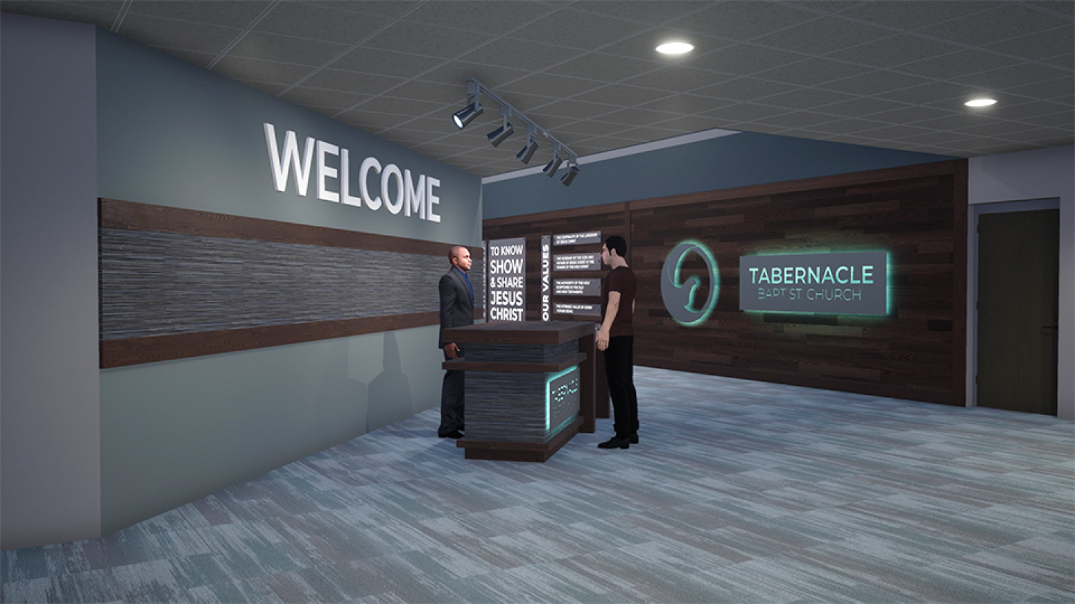 Modern entrance from a church interior design project by Paragon 360.