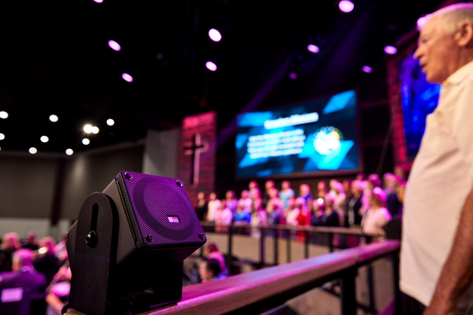 JBL speakers with AVL sound, pictured during service at Tampa church.