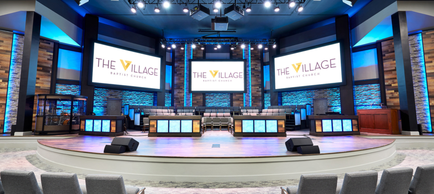 Here are the audio video systems, complete with AVL systems, at Village Baptist Church after our Phase One.