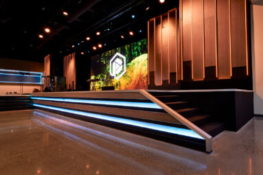 The church lighting system and church speakers seen here lend to a powerful message.
